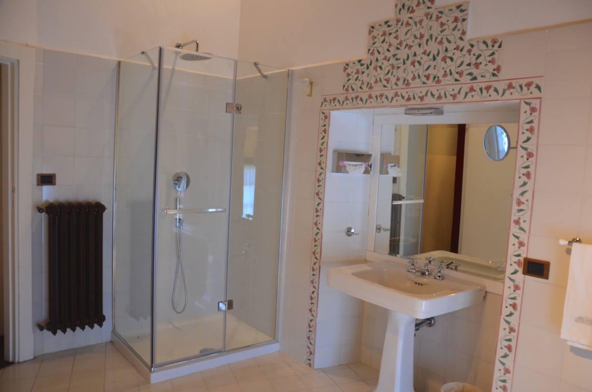bagno con lavandino e doccia